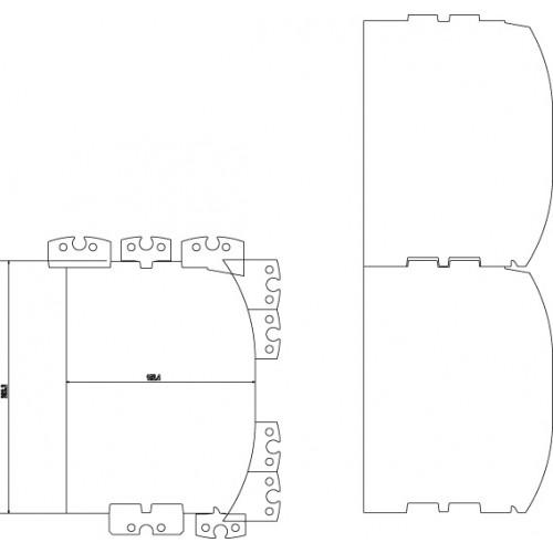 """D-log teräsarja LM410, 6-8"""" (150-200mm), sis. Kiinnityspalat"""
